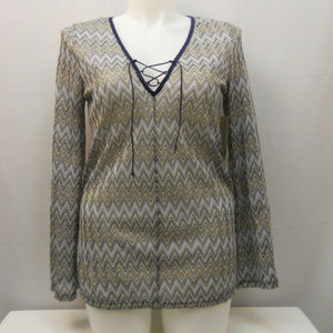 Women's Knit Tunic Top Laced V-Neck Size XL